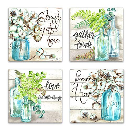 JLXart Wall Art for Kitchen Canvas Print Beautiful Watercolor-Style Family Gathers Here and Forever Home Mason Jar Floral Artwork Four 12x12inch Framed Prints