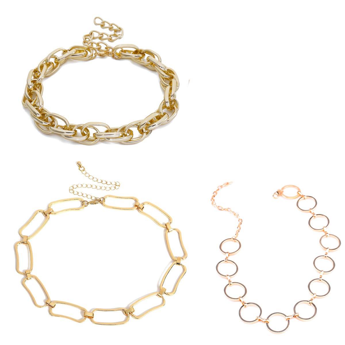 AnVei  - ナオゴールドチェーンネックレスネックレス女性の夏の3ピースパンク粗いシルバーのネックレス