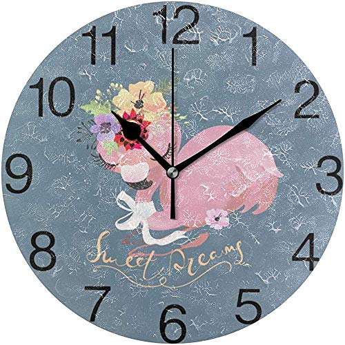 Cute Dreaming Flamingo Design Reloj de Pared Redondo, silencioso sin Aceite PAI OilDecorativo para el hogar, la Escuela, el Reloj del Arte