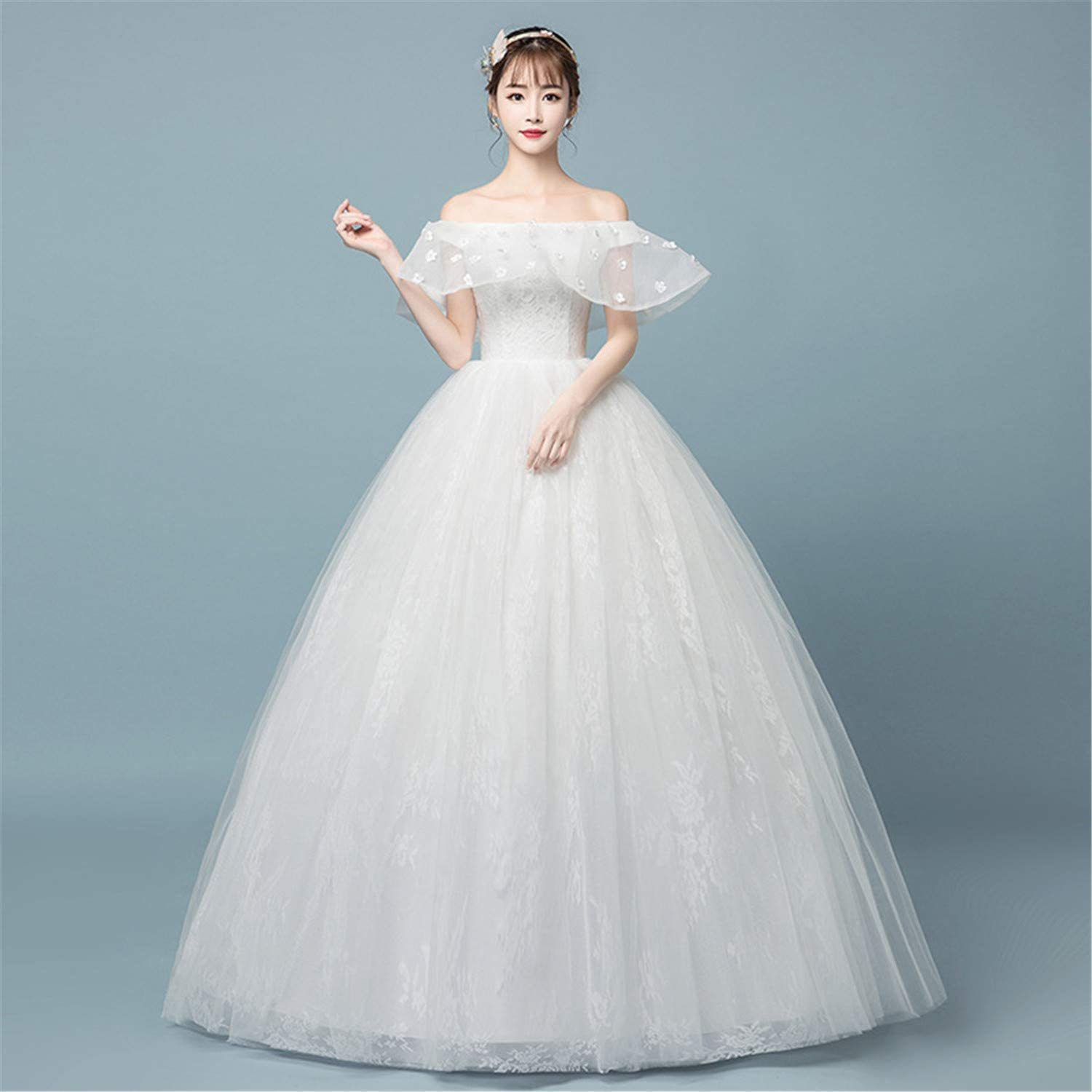 Women Wedding Dress Female Large Thin Simple White Floor Length Light Sexy Bridesmaid Long Clothes
