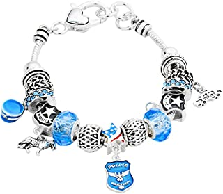 Lola Bella Gifts Police Law Enforcement Theme Charm Bracelet w/Gift Box