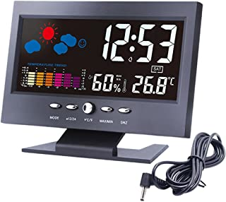 """Lomanda Digital Alarm Clock 5.5"""" Colorful Display Screen with Weather Forecast/Date/Indoor Humidity Temperature/Snooze/Charging Cable (Black/colorful, 5.5"""")"""