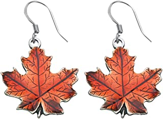 DANFORTH - Maple Leaf/Autumn Earrings - 3/4 Inch - Pewter - Handcrafted - Surgical Steel Wires - Made in USA
