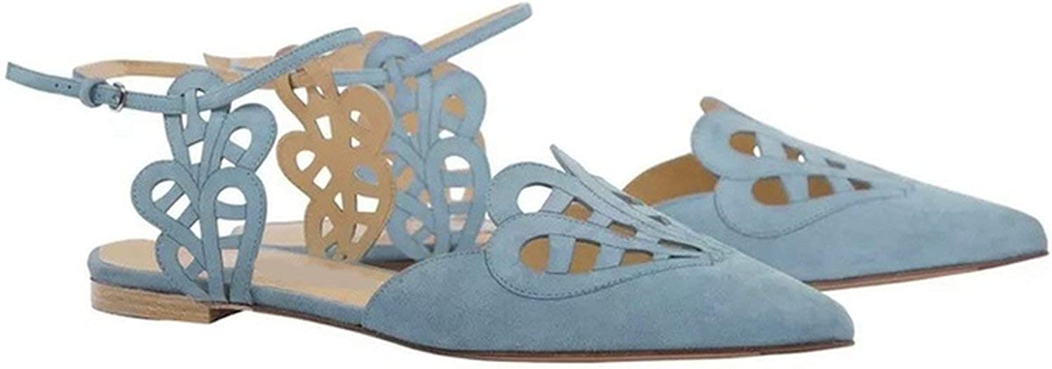 Pointed Toe Flat Sandals Women Cuts-Out Summer Sandals Women bluee Solid Beach Sandals shoes
