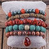 LCCDSD Pulseras bohemias de moda bohemia con cuentas, accesorio de joyería multi 5 piezas de pulsera y brazaletes conjuntos para mujeres regalo Tik Tok cuentas (longitud 18,5 cm, color metálico: D)
