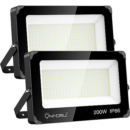Onforu 2 Pack 200W LED Flood Light, 22000lm Super Bright Security Lights, IP66 Waterproof Outdoor Flood Light, 5000K Daylight White Floodlight for Yard, Garden,Basketball Court, Arena