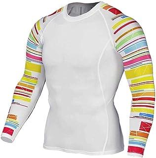 Dri Fit White Compression Shirt Mens Slim Long Sleeve Gym Tee