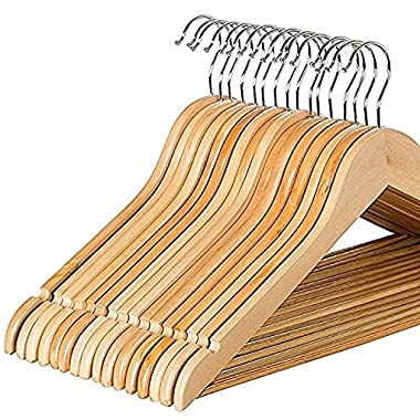 Zober Solid Wood Suit Hangers - 30 Pack - with Non Slip Bar and Precisely Cut Notches - 360 Degree Swivel Chrome Hook - Natural Finish Super Sturdy and Durable Wooden Hangers