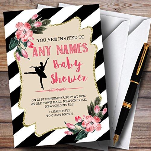 Baby Douche Uitnodigingen Zwart & Wit Bloemen Ballerina Ballet Uitnodigingen Baby Douche Uitnodigingen Met Enveloppen - Elke Aangepaste Tekst Voor Elke gelegenheid 150 Cards & Envelopes Zwart/Wit