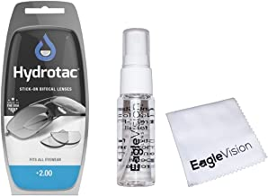 Optx 20/20 Hydrotac Stick-On Bifocal Lenses and Eagle Vision Lens Cleaner Bundle (+2.00)