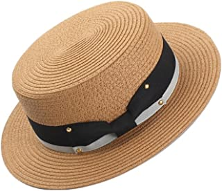 GLJJQMY Spring and Summer New Ladies Shopping mall Wild Flat top hat Bow Decoration Black White Sun hat Summer Hat (Color : Camel, Size : M(56-58))