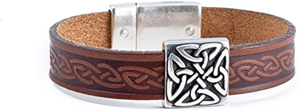 Biddy Murphy Irish Leather Bracelet Celtic Knot Charm Three Colors Unisex Made in Ireland