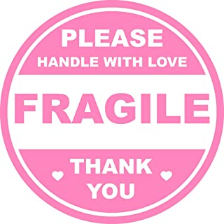 2 inch 300 PCS Pink Round Fragile Labels Circle Fragile Stickers for Shipping Mailing Envelops Cartons Pallets Adhesive La...