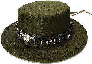 Elegant Hats Retro Women Men Vintage 100% Wool Wide Brim Cap Pork Pie Porkpie Bowler Hat Cow Head Leather Natural Caps (Color : Green, Size : 56-58CM)