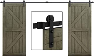 EaseLife 12 FT Double Door Sliding Barn Door Hardware Kit,Heavy Duty,Ultra Hard Sturdy,Easy Install,Slide Smoothly Quietly,Fit Double 36