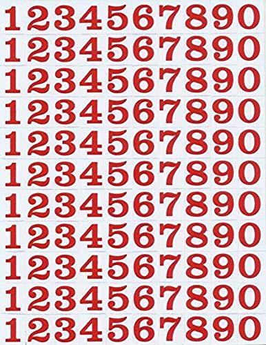 (シャシャン)XIAXIN 防水 PVC製 数字 ナンバー ステッカー セット 耐候 耐水 数字 キャラクター ミニサイズ 表札 スーツケース ネームプレート ロッカー 屋内外 兼用 TSS-106 (1点, レッド)