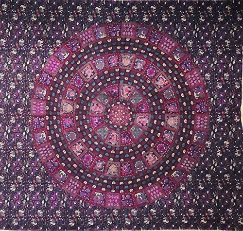 etnico Telo arredo Grande Disegno Mandala Indiani raffigurazioni Color Rosa Viola 210 x 220 cm Circa Hippie Om Indiano Made in India colorato Spiaggia copridivano, arazzo
