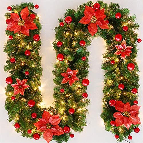TopHGC Guirnalda de Navidad, 2.7M Chimeneas Escaleras Guirnaldas Decoradas Luces LED Adorno Corona de Navidad para decoración del hogar (Rojo)