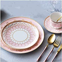 MIAOSSS Ceramic Tableware Set, Available in Pink and Blue. There are Four Styles to Choose from, and 7 Set Menus. Western-Style Cutlery, Steak Plate, Snack Plate, Coffee Cup.Pink-B