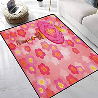 Lantern Area Rugs for Sale 1.3x2 ft Chinese New Year Theme Cherry Blossom Auspicious Festive Celebration Print Living Room Carpet