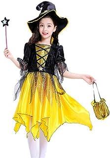 زي ساحرة للاطفال مع القبعة والكاب للهالوين والحفلات التنكرية، تلبيس للاطفال البنات