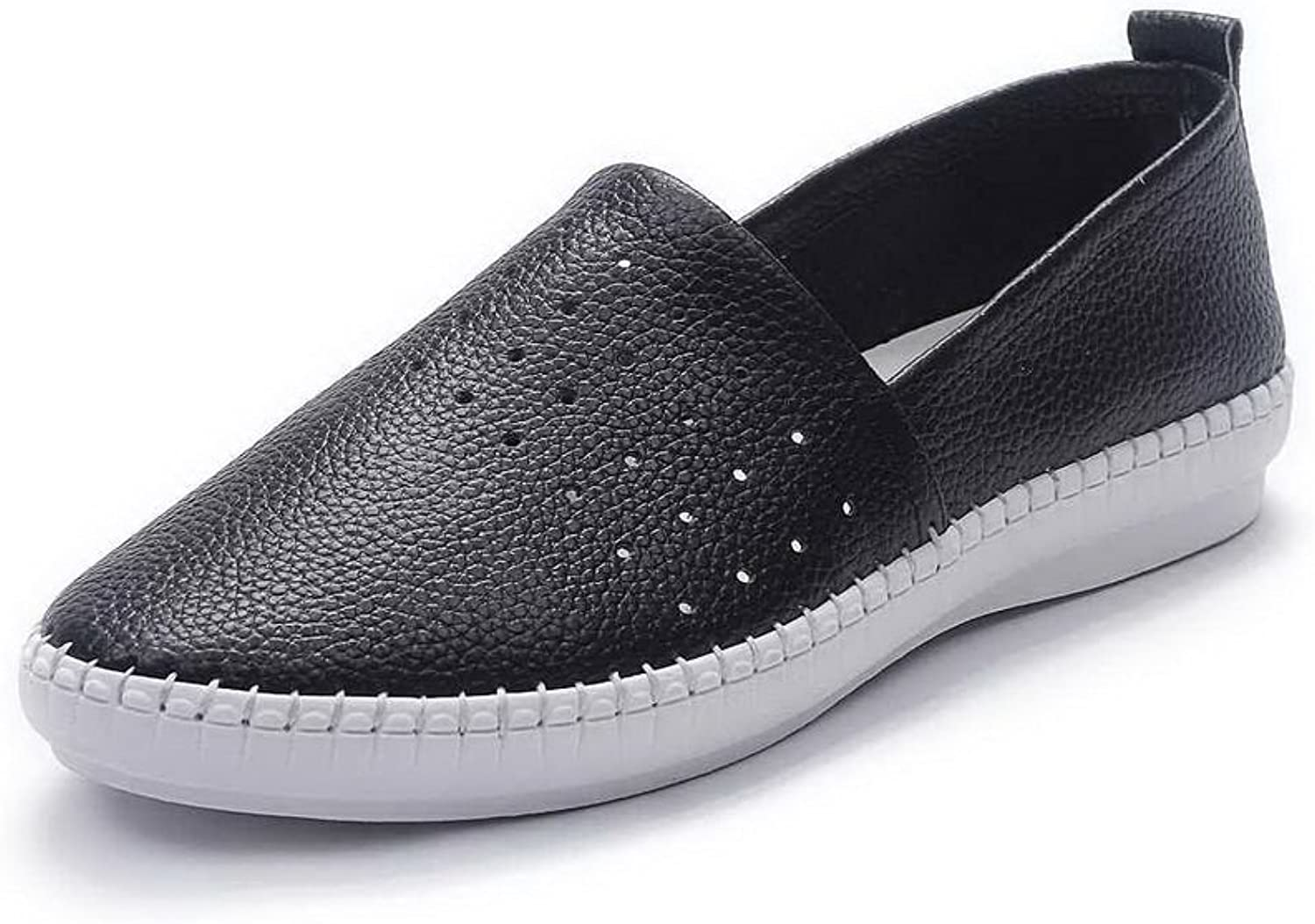 AdeeSu Womens Retro Round-Toe Hollow Out Leather Loafers shoes SDC03715