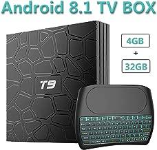 EVANPO Android 8.1 TV Box, 4GB RAM 32GB ROM Quad Core 64 Bits Processor 3D/4K/H.265 Dual WiFi Smart TV Box Media Player with Wireless Mini Keyboard (Backlit)