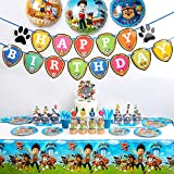 FUNPARTY Paw Dog Patrol Party Supplies for Kids, 113 Pcs Party Favors - Cake Topper, Cupcake Toppers, Sticker, Cupcake Wrappers, Happy Birthday Banner, Untensil Set, Tablecloth