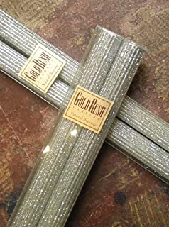 Gold Rush 8 Inch Natural Beeswax Glitter Candles, Platinum Color, Boxed Set of 2