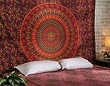 RAJRANG BRINGING RAJASTHAN TO YOU Mandala da Appendere alla Parete, Cotone, Rosso, Twin 213x137 cm