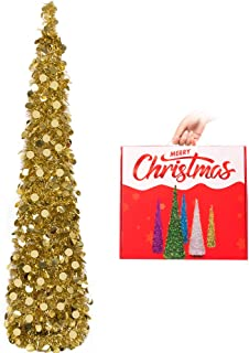 N&T NIETING Christmas Tree, 5ft Collapsible Pop Up Gold Tinsel Christmas Tree Coastal Christmas Tree for Holiday Xmas Decorations, Home Display, Office Decor