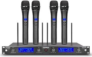 میکروفون بی سیم UHF 4 کانال Mics 4 دستی فرستنده Pro Dynamic Mic کل فلز با فرکانس جدید FCC برای مهمانی سخنرانی کنفرانس کلیسای عروسی کارائوکه دی جی
