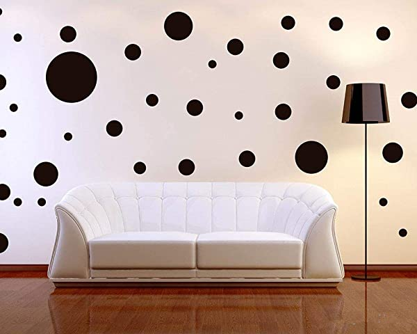 Assorted Sizes Removable Black Dot Mix Wall Decals 268PCS For Kids Room Decoration Dots Polka Stickers Easy To Peel Easy To Stick Metallic Vinyl Decor By BUGYBAGY Black Dot Mix Black