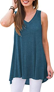 AWULIFFAN Women's Summer Sleeveless V-Neck T-Shirt Tunic...