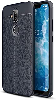 Nokia 8.1 Leather Skin TPU Case Cover - Blue.