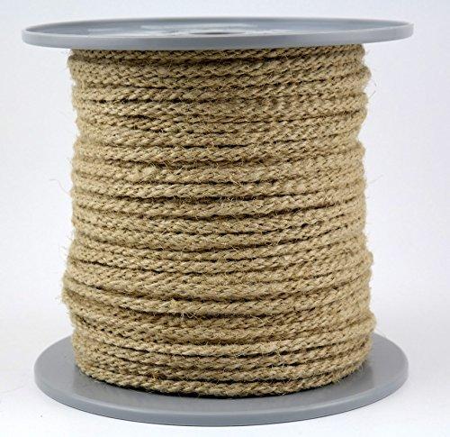Chanvre Corde tressée en corde – Décoration – Diamètre 6 mm – 100 m sur bobine Disque en chanvre (Long 100% naturel)