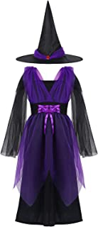 YOOJIA Kids Girls Witch Costume Wizard Halloween Cosplay Outfit Holiday Party Dress up with Pointed Hat Accessory