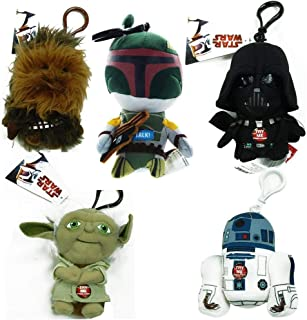"""Star Wars Vader 4"""" Talking Plush Clip On Set of 5 with R2-D2, Yoda, and More"""
