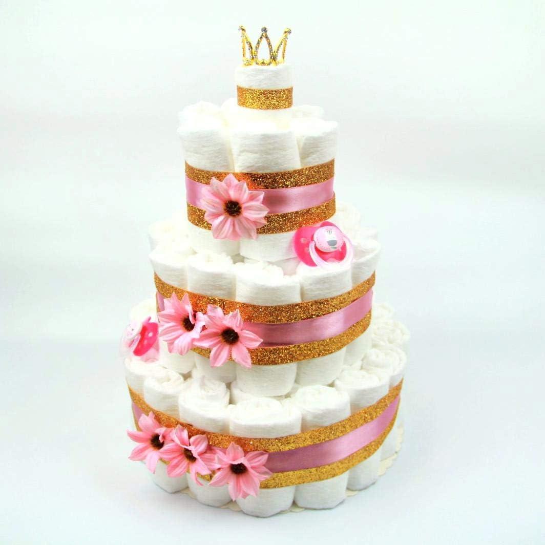 Prinzessinnen-Geschenk Baby-Party oder Geburt Windelkuchen mit 60 Pampers/® Soulstice/® XXL Windeltorte in Pink /& Gold f/ür M/ädchen