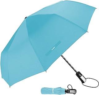 "TradMall Travel Umbrella Windproof with 10 Reinforced Fiberglass Ribs 42"" Large Canopy Ergonomic Handle Auto Open & Close,..."