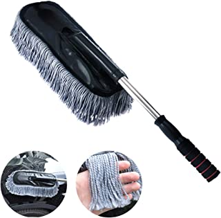 Vozada Microfiber Car Duster Wash Mop with Extendable Handle for Exterior and Interior, Lint Free – Scratch Free Cleaning Brush Cleaning Tool (Grey)
