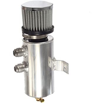 Oil Catch Tank Can Cylinder Aluminum Baffled Engine Reservoir Breather W// Filter