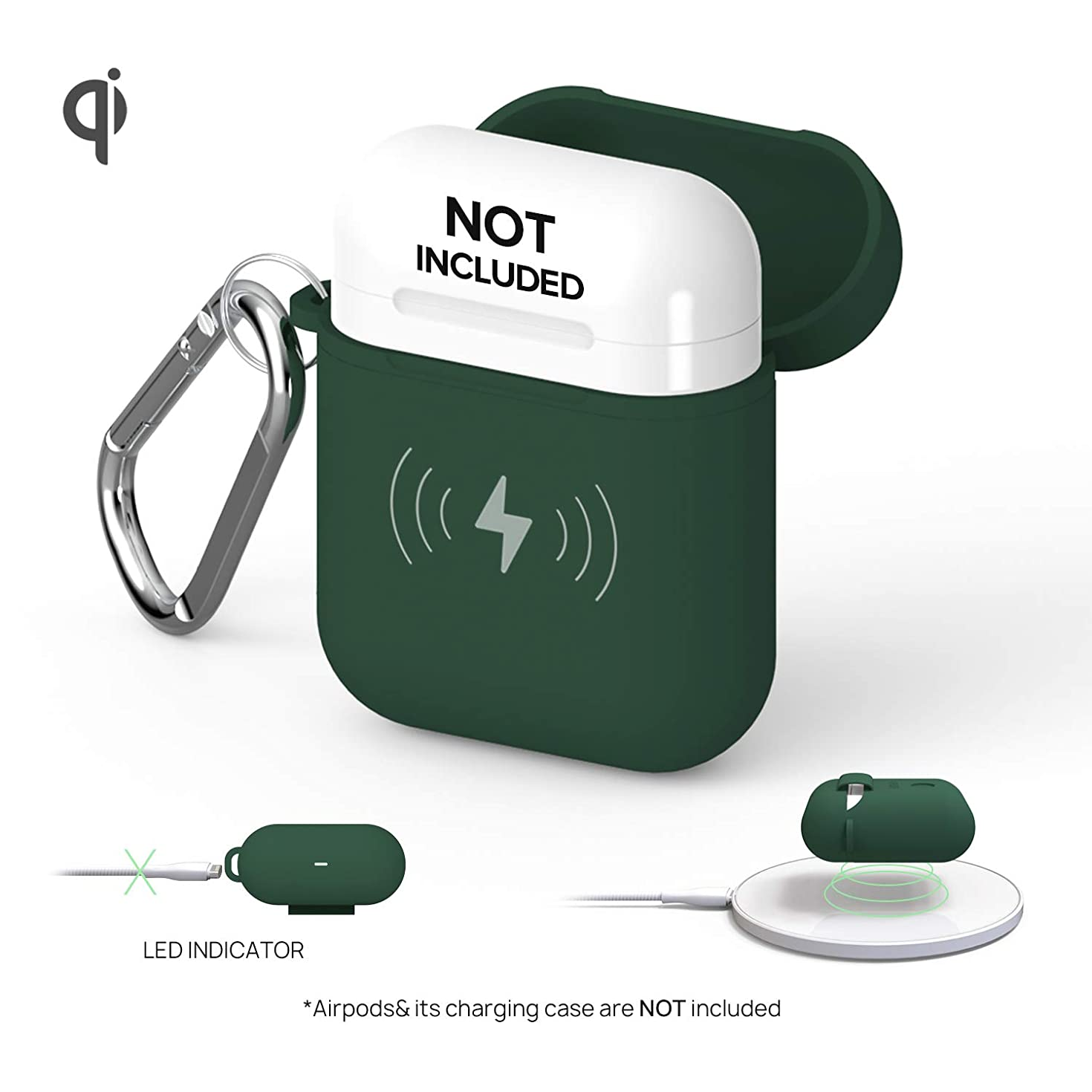 GAZEON Qi Wireless Charging Airpods case | Protective Case Holder Compatible with AirPods (Forest Green)