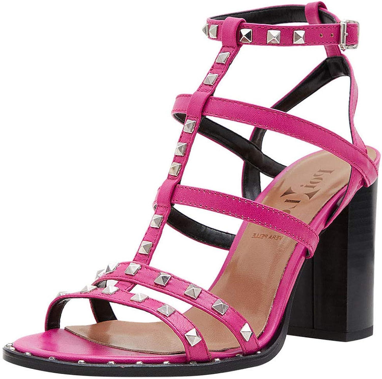 Poi Lei Damen-Schuhe Riemchen Sandalette Ania Fuchsia Sandaletten Blockabsatz Leder