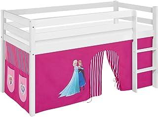 Lilokids Lit Mezzanine JELLE Frozen Rose -lit d'enfant Blanc - avec Rideau - lit 90x200 cm