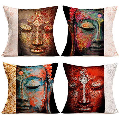 Qinqingo 4Packs Retro Buddha and Mandala Pattern Throw Pillow Case Cotton Linen Cushion Cover 18 X 18 Inches for Home Sofa Bed Chair Auto Seat Decoration (Buddha and Mandala)