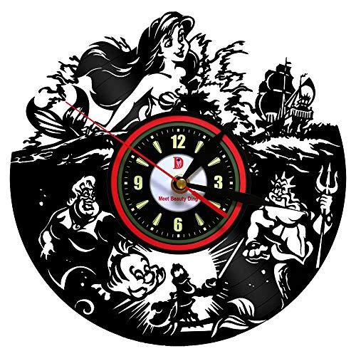 Meet Beauty Ding - Reloj de Pared para decoración de Interiores, diseño con Texto en inglés The Little Mermaid Sea-Maid Theme-Gift, Ideal para Mom Girl Friend Lover, niños de Navidad y Halloween