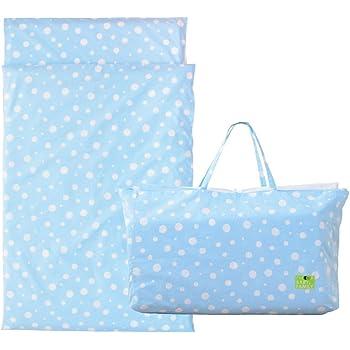 エムール お昼寝布団 セット 5点 洗える 保育園 収納バッグ付き お昼寝 ベビー布団 5点セット 園児用 持ち運べる バッグ付き 水玉柄ブルー