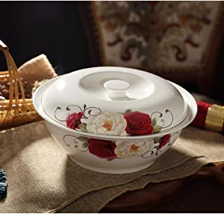 9 Inches Bone China Soup Bowl with Cover Soup Basin Hotel Restaurant Soup Pot 2000ml ( Color : A )