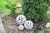 DEKO Kugel Keramik Dekokugel ca. 17cm grau-braun Gartendeko Beetdeko Pflanzdeko Windlicht Shabby rustikal Vintage Ornament Garten Tischdeko Frühling Sommer - 2
